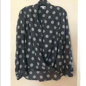 Pleione Polka Dot Wrap Blouse Top Black Cream